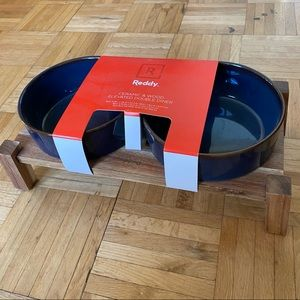 Reddy Ceramic & Wood Elevated Double Diner Bowls
